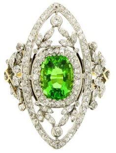 Antique green garnet and diamond dress ring, circa 1905