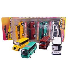 Remeehi 4 Assorted Pull Back Vehicle Toys Mini School Buses Toy Set Educational Toys for Kids