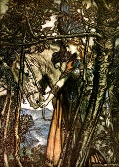 Brünnhilde slowly and silently leads her horse down the path to the cave - The Rhinegold and the Valkyrie, 1910