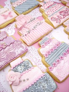 Another set of Pink & Grey wedding cake cookies....... by Anita Jamal, via Flickr