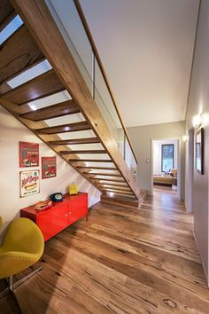 Open timber stairs.