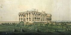 Engraving of the White House by William Strickland, after a watercolor by George Munger, 1814. (Library of Congress)