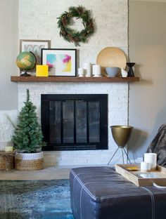 Fireplace makeover using Glacier stone ledger from Floor + Decor | homeologymodernvintage