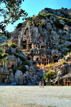 *MYRA, TURKEY~THE LYCIAN ROCK CUT TOMBS: The Lycians seem to have held a belief that the souls of their dead would be transported from the tombs to the afterworld by a sort of winged siren-like creature, and so often placed their tombs along the coast or at the top of cliffs when they were not integrated into the liveable areas of the cities.