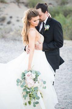 South Mountain Desert Wedding  Denise Karis photography Tiered wedding dress eucalyptus bouquet Phoenix Wedding  Florals: http://sarahsweddinggarden.com/  Dress: http://uptownbrides.com/