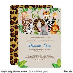 Invitación de Baby Shower de la selva - muchacho