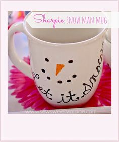 how to make a DIY sharpie snowman mug by Sew Sweet Vintage  ~ shared at Brag About It Link Party on VMG206 (Monday's at Midnight). #bragaboutit