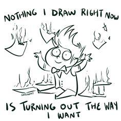 I hate those days. Funny Art, Funny Memes, Artist Problems, Art Jokes, Draw The Squad, Trash Art, Artist Life, Funny Comics, Webtoon