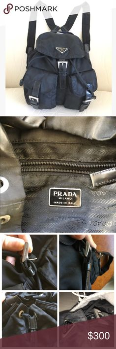 Prada backpack 100% authentic small Prada nylon backpack from early 2000s (given as a gift after pleading and pleading!) All compartments magnetic snap closed plus buckle closure. Main opening also cinches closed. Loved and in great condition, some of the leather pieces show their usage (bottom collage photos) but everything in perfect working order. With its original dust bag! Phone case shown for scale. Have tons more photos! Prada Bags Backpacks