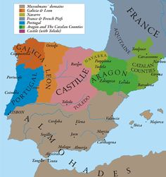 """map show Al-Andalus (Almohades) and European Christian centuries. It´s made from """"The Historical Atlas by William R.Shepherd, Sancho I of Portugal. Alfonso VIII of Castile. James I of Aragon. Alfonso IX of León. Spain History, European History, World History, Ancient History, Family History, Ancient Aliens, American History, Iberian Peninsula, Map Globe"""