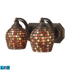 ELK Lighting Bath Spa 2 Light LED Vanity In Aged Bronze Multi Fusion Glass