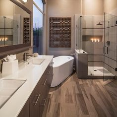 In a house, especially a large house must have a master bathroom. And the master bathroom has a larger size than the other bathrooms. And besides, the master bathroom is designed more elegant and m… Bathroom Renos, Bathroom Interior, Modern Bathroom, Minimalist Bathroom, Bathroom Wall, Contemporary Bathrooms, Bathroom Cabinets, Mosaic Bathroom, Bathroom Layout