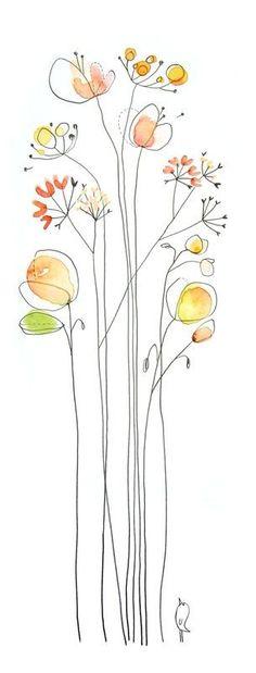 Drawing Doodles Ideas Walking through a filed of flowers. I could keep this up for hours. Fragrant, soft, and so delightful.~L - ça dépend d'où on regarde. et en ce moment, face à l'ampleur de la. Art Floral, Art Et Illustration, Illustration Fashion, Fashion Illustrations, Watercolor And Ink, Watercolor Tattoo, Simple Watercolor Paintings, Simple Watercolor Flowers, Watercolor Trees