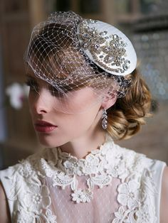 Crystal Bridal Head piece, Ivory and Crystal Bridal Fascinator, Birdcage Veil, Art Deco, Gatsby Wedding headpiece, STYLE 121