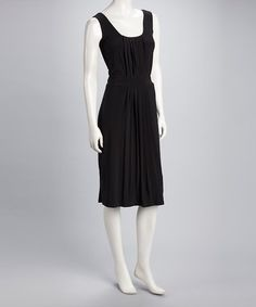 Take a look at this Black Vintage Pleated Sleeveless Dress by Sharon Max on #zulily today!