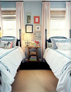 lake houses, guest bedrooms, lakehous, shared rooms, kid rooms, boy rooms, twin beds, window treatments, guest rooms