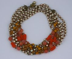 For Sale on - Miriam Haskell 4 strand necklace of signature pearls and various shades of orange/topaz/mustard/peach pate de verre glass beads. I Love Jewelry, Tribal Jewelry, Fine Jewelry, Jewelry Design, Jewelry Making, Jewellery Box, Multi Strand Necklace, Beaded Necklace, Pearl Necklaces