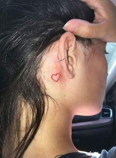 tattoo behind ear ~ tattoo behind ear ; tattoo behind ear small ; tattoo behind ear unique ; tattoo behind ear black girl ; tattoo behind ear men ; tattoo behind ear word ; tattoo behind ear symbols ; tattoo behind ear chinese Love Heart Tattoo, Red Heart Tattoos, Red Ink Tattoos, Small Heart Tattoos, Dainty Tattoos, Sleeve Tattoos, Makeup Tattoos, Small Neck Tattoos, Cross Tattoos