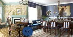 the room on the right has the contrasting patterns on the curtains and the rug but in the same pallet