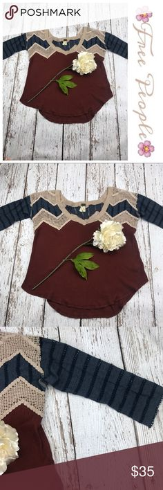 """💕SALE💕Free People 3/4 Sleeve Top Fabulous 💕Free People 3/4 Sleeve Top 25"""" from the top of the shoulder to the bottom 20"""" from armpit to armpit 13"""" Sleeve Length Free People Tops"""