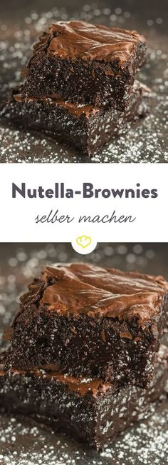 Nutella Brownies - With Nutella, cocoa and lots of chocolate, these will take you . - Nutella-Brownies – With Nutella, cocoa and a lot of chocolate, these incredibly juicy brownies wi - Nutella Recipes, Brownie Recipes, Cookie Recipes, Snack Recipes, Dessert Recipes, Healthy Recipes, Desserts Nutella, Dessert Bars, Cheese Recipes
