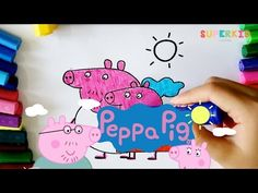 Peppa Pig and friends coloring pages - Very easy coloring book for Kids - YouTube