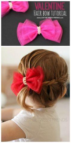 Check out this adorable Valentine Hair Bow tutorial (Diy Hair Bows) Tulle Hair Bows, Diy Hair Bows, Diy Bow, Bow Hair Clips, Hair Tie, Diy Headband, Headbands, Hair Bow Tutorial, Diy Hair Accessories