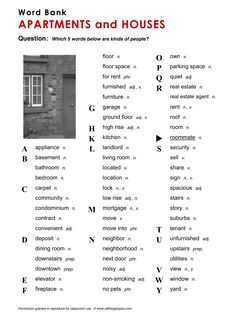 Apartments and Houses, English, Learning English, Vocabulary, ESL, English Phrases, http://www.allthingstopics.com/apartments-and-houses.html