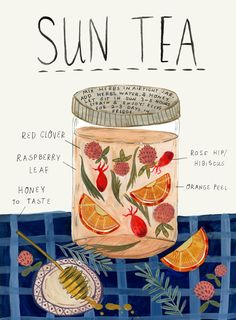What better way to become acquainted with herbs than by sipping fresh herbal sun teas? Here's how to make herbal sun tea using herbs growing all around you. Jus Detox, Detox Tea, Yummy Drinks, Healthy Drinks, Healthy Food, Nutrition Drinks, Refreshing Drinks, Tea Blends, Food Illustrations