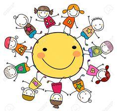 Illustration of happy kids playing around the sun vector art, clipart and stock vectors. Art Drawings For Kids, Drawing For Kids, Easy Drawings, Art For Kids, Crafts For Kids, Kindergarten Art, Stick Figures, Happy Kids, Happy Sun