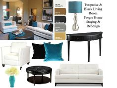 Turquoise and Black Living Room interior design. Moodboard created with www.sampleboard.com
