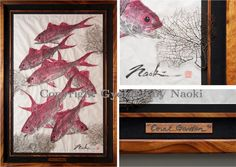 "Coral Garden - This gorgeous display of ""Schooling Onaga"" in a shadow box frame is completed with black coral pieces and premium curly Koa wood."