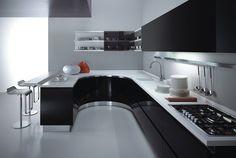 cocinas blancas negras metal taburetes