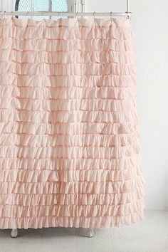"""Waterfall Ruffle Shower Curtain (Pink) - $79.00 
