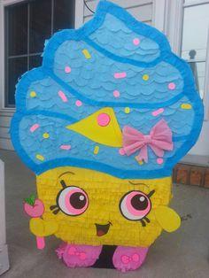 Custom hand made cup cake pinata, Cupcake queen inspired pinata, shopkin birthday party,   cupcake queen birthday,shopkin pinata by PrettyCreations4fun on Etsy https://www.etsy.com/listing/267589454/custom-hand-made-cup-cake-pinata-cupcake