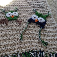 Owl baby blanket! Labor of love by h. Nicholas.
