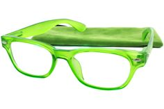 The Rainbow Bright Reading eyeglasses use a teacup style frame that features a trendy translucent frame material that will add color and cheerfulness to your day. These reading glasses are paired with a coordinating case for fashionable protection. Exclusively by Peepers.