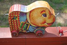 RARE Vintage Fisher Price Wooden Musical Pig Pull Toy Works | eBay