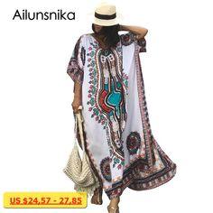 4869a68d000a7 ... V Neck Short Sleeve Elegant A Line Dress. Ailunsnika New Arrival Women  Summer African Ethnic Print Kaftan Maxi Dress 2018 Summer Loose Vintage Boho