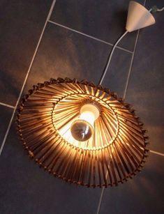 Suspension luminaire lustre abat-jour rotin vintage | couloir ...