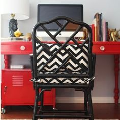 Chippendale bamboo chair with zigzag cushions via dwellinggawker.com