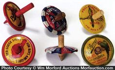 Lot consists of a group of six different early tin litho advertising tops w/ wooden centers. Includes: two different Cracker Jack variations, three different Poll Parrot Shoes and Red Goose Shoes. Sold at: Wm Morford Antiques Looking to Buy or Sell? Contact: Antique Advertising LLC