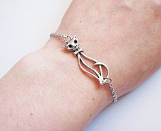 Cat Bracelet silver cat bracelet cat Jewelry kitty by RobertaValle, $9.00