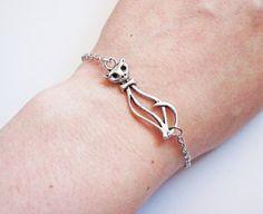 Cat Bracelet - silver cat bracelet - cat Jewelry - kitty by RobertaValle