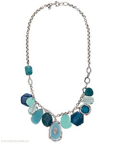A bevy of seaside colors makes a splash on this Necklace of Sterling Silver, Amazonite, Shell, Agate, Howlite, Quartz and Glass