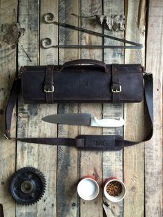 Leather knife Roll .Knife Case Chefs Roll Chefs Bag Knives Storage Knives Roll Custom Made Leather Case