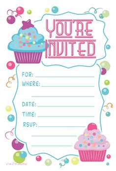 Birthday Party Invitation Card Template Elegant Birthday Party Invitations for 12 Year Olds Birthday Invitation Card Template, Kids Birthday Party Invitations, Birthday Party Themes, Cupcake Birthday, Invitation Ideas, Invitation Cards, Birthday Template, Cupcake Party, Pusheen Birthday