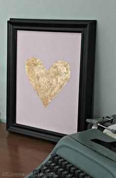 Easy DIY Gold Leaf Heart Art