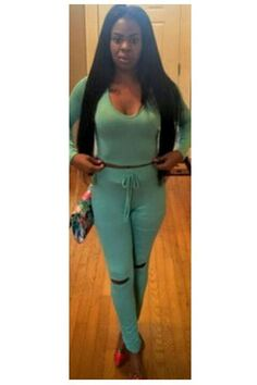 Pure Color Hooded Crop Top with Cut Out Skinny Pants Two Pieces Set
