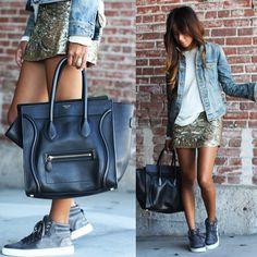 Saia Dourada e Jaqueta Jeans